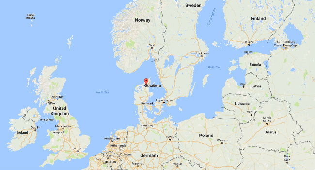 Aalborg in Denmark shown on a map of Europe